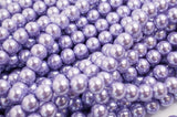 Glass Pearl Pearlescent Beads 8mm Round 1mm Hole , Lavender , 100pcs, Jewelry Making