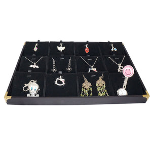 Black Jewelry Pendant & Charm Display Case with Golden Decorative Corner, 35x24cm, 12 Compartments