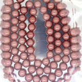 Glass Pearl Pearlescent Beads 8mm Round 1mm Hole , Indian Red, 100pcs, Jewelry Making