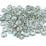 6mm Clear Crystal Color Brass Rhinestone Beads, Silver Metal Color, Rondelle, Pack of 100