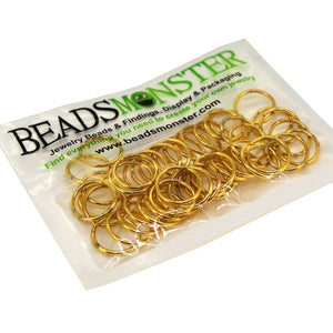 BeadsMonster Jewelry Findings Jump rings for Jewelry design and Making , Gold Color, 14mm, 20g