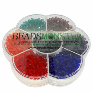 Glass Beads, Bicone, 4x4mm, 1mm Hole,  7 Colors Set 05