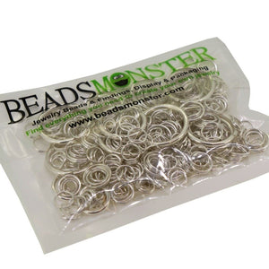 BeadsMonster Jewelry Findings Jump Rings, Size Randomly Mixed, Silver Color