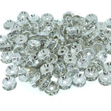 8mm Clear Crystal Color Brass Rhinestone Beads, Silver Metal Color, Rondelle, Pack of 100