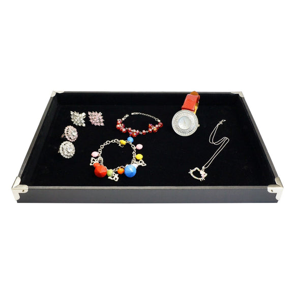 Black Jewelry Display Utility Case with Silver Decorative Corner, 35x24cm, for Retail Shop