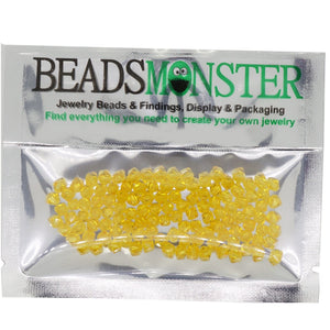 Pack of 100 Glass Beads, Bicone, 4x4mm, 1mm Hole,  Yellow Color