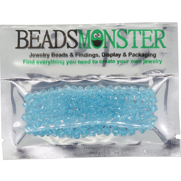 Pack of 100 Glass Beads, Bicone, 4x4mm, 1mm Hole,  Aquamrine Color