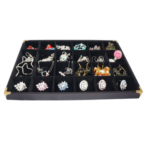 Black Jewelry 24 Compartment Display Case with Golden Decorative Corner, 35x24cm, for Presentation