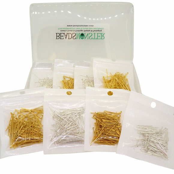 20,30,35,40mm Mixed Headpins for Jewelry Making, Silver and Golden Color, Starter Kit Value Box