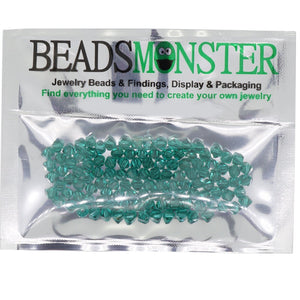 Pack of 100 Glass Beads, Bicone, 4x4mm, 1mm Hole,  Emerald Color