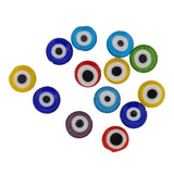 Handmade Lampwork Beads, Evil Eye, Flat Round, Mixed Color, about 12mm in diameter