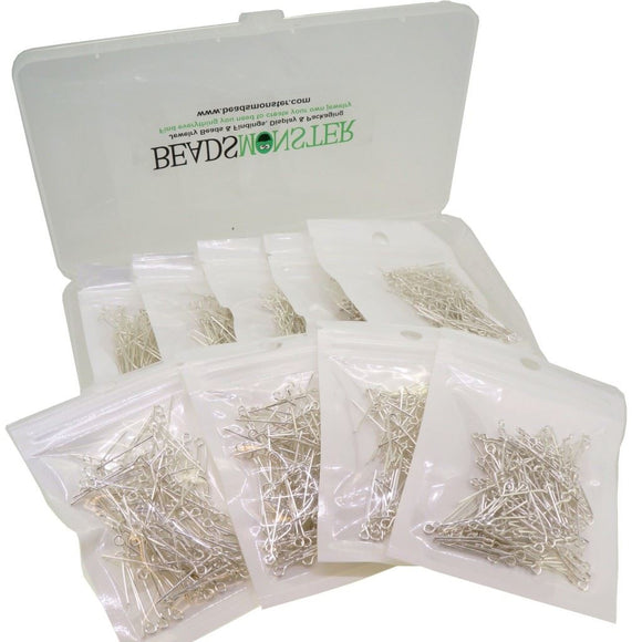 18 ~ 40mm Mixed Silver Plated Eyepins for Jewelry Making Start Kit Value Box
