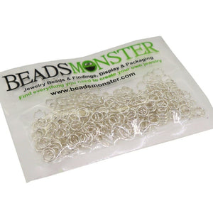 BeadsMonster Jewelry Findings Jump rings for Jewelry design and Making , Silver Color, 6mm, 20g