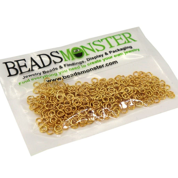 BeadsMonster Jewelry Findings Jump rings for Jewelry design and Making , Gold Color, 4mm, 20g