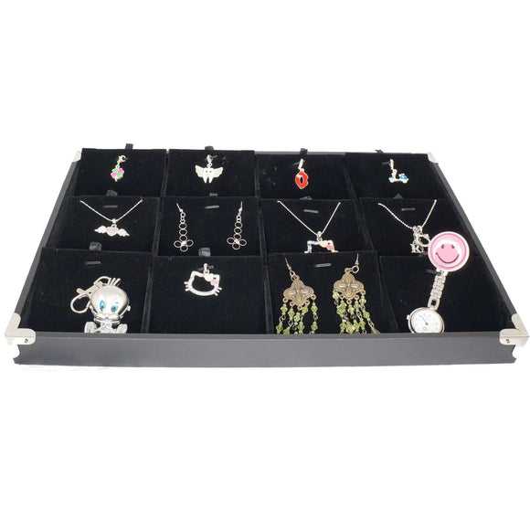 Black Jewelry Pendant & Charm Display Case with Silver Decorative Corner, 35x24cm, 12 Compartments