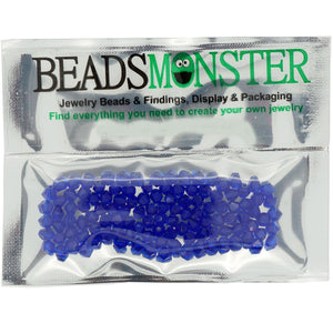 Pack of 100 Glass Beads, Bicone, 4x4mm, 1mm Hole,  Capri Blue Color
