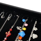 Black Jewelry Bracelet Necklace Display Case with Silver Decorative Corner, 35x24cm, 20 Clips