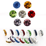 8mm Color Crystal Brass Rhinestone Beads, Straight Flange, Silver Metal Color, Rondelle, Pack of 350