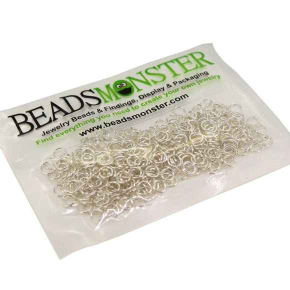 BeadsMonster Jewelry Findings Jump rings for Jewelry design and Making , Silver Color, 5mm, 20g