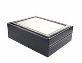 High Quality Black PU Watch Collection Storage Display Box, 10 Grid
