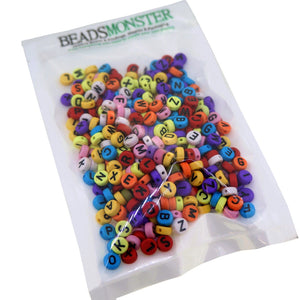 Alphabet Flat Round Beads, A-Z Letters, Mixed Color, 7x4mm, 1mm Hole for DIY Jewelry Making Project