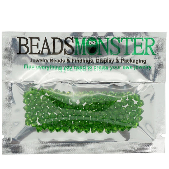 Pack of 100 Glass Beads, Bicone, 4x4mm, 1mm Hole,  Green Color