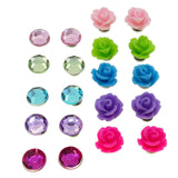 Color Rhinestone and Rose Flower Beads Magnetic Clip-on Stud Earrings Gift Set, Pack of 10 Pairs