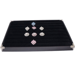 Black Jewelry Ring Display Case with Silver Decorative Corner, 35x24cm, for Retail Shop Presentation