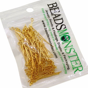 Wholesale Lot of 35mm Golden Plated Eyepins for Jewelry Making, 15g