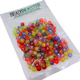 Transparent Alphabet Flat Round Beads, A-Z Letter, Mixed Color, 7x4mm for DIY Jewelry Making Project