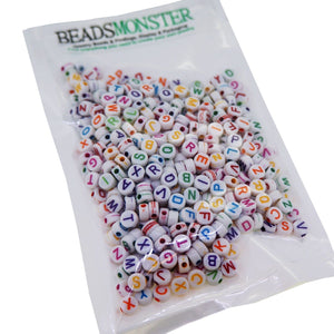 Colorful Alphabet Letter Flat Found Beads, Mixed Color, 7mm,1mm hole for DIY Jewelry Making Craft Project