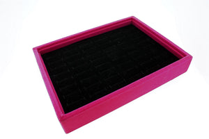 48 Slot Black Velvet Pad and Fuchsia Velvet Jewelry Display Case Tray for Rings and Cuffs