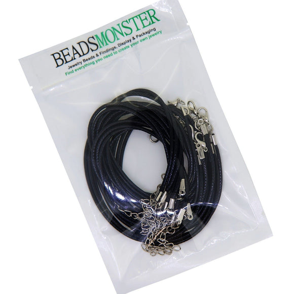 Black Imitation Leather Cord with Lobster Claw Clasps and extender chain for Choker Necklace, 17