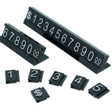 White Number Letter Black Base Price Display Counter Stand Tag (set of 16)
