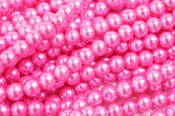 Glass Pearl Pearlescent Beads 8mm Round 1mm Hole , Hot Pink , 100pcs, Jewelry Making