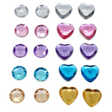Color Round and Heart Rhinestone Beads Magnetic Clip-On Stud Earrings Gift Set, Pack of 10 Pairs