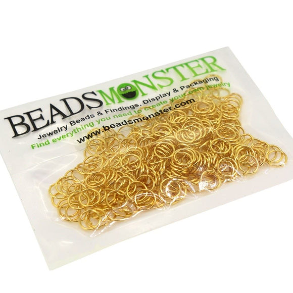 BeadsMonster Jewelry Findings Jump rings for Jewelry design and Making , Gold Color, 7mm, 20g