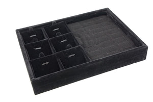 Black Velvet Jewelry Presentation Display Box for Pendants Charms Rings Cuffs, 20x15x3cm