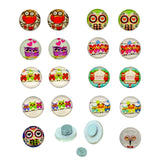 Owl Pattern, Glass Cabochons Magentic Earrings 10x3.5mm