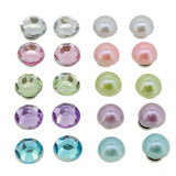 Color Rhinestone and Faux Pearl Beads Magnetic Clip-on Stud Earrings Gift Set, Pack of 10 Pairs