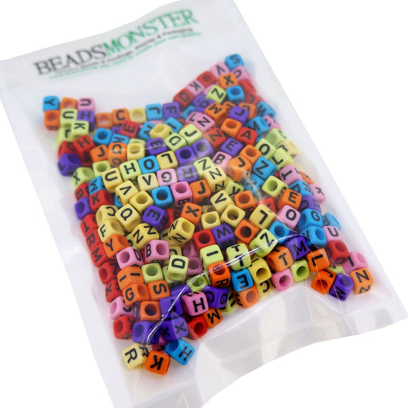 Alphabet Cube Beads, A-Z Letters, Mixed Color, 6x6x6mm, 3mm Hole for DIY Jewelry Making Project