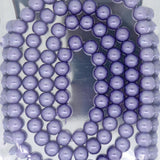Glass Pearl Pearlescent Beads 8mm Round 1mm Hole , Cornflower Blue, 100pcs