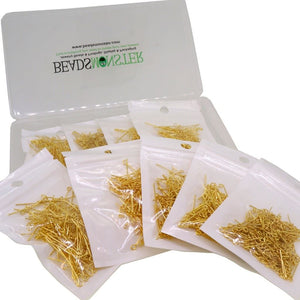 18 ~ 40mm Mixed Golden Plated Eyepins for Jewelry Making Starter Kit Value Box