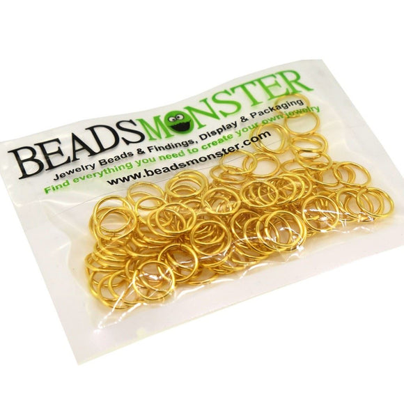 BeadsMonster Jewelry Findings Jump rings for Jewelry design and Making , Gold Color, 10mm, 20g