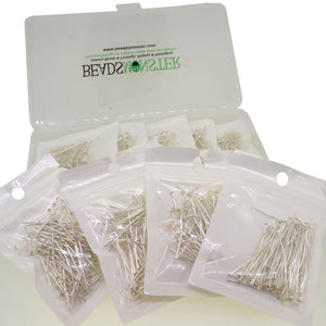 BeadsMonster 18 ~ 40mm Mixed Silver Plated Headpins for Jewelry Making Starter Kit Value Box