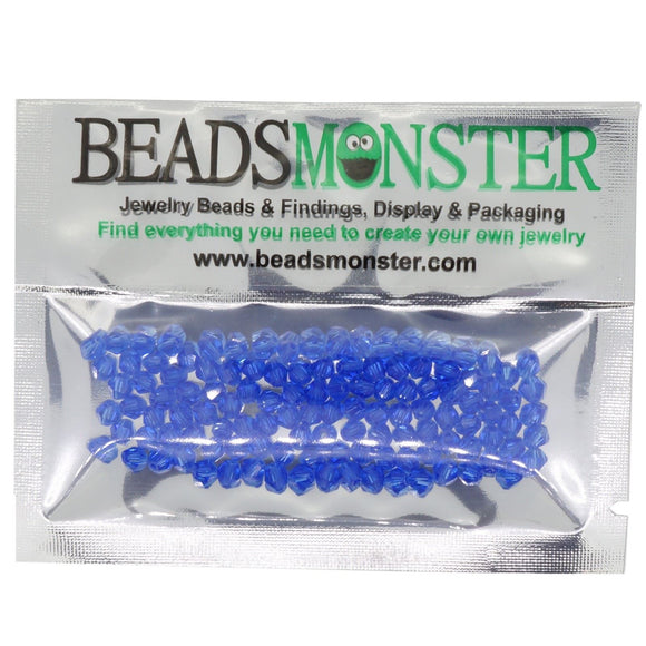 Pack of 100 Glass Beads, Bicone, 4x4mm, 1mm Hole,  Sapphire Color