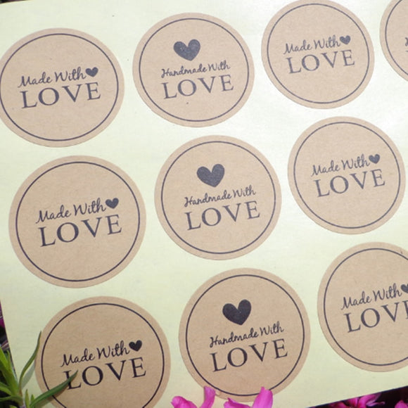 120Pcs Made With Love Heart Handmade Cake Packaging Sealing Label Kraft Sticker Baking DIY Gift Stickers