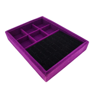 Purple Velvet Jewelry Presentation Display Case Tray w 6 Compartments, for Multi-purpose, 20x15x3cm