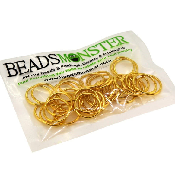 BeadsMonster Jewelry Findings Jump rings for Jewelry design and Making , Gold Color, 16mm, 20g