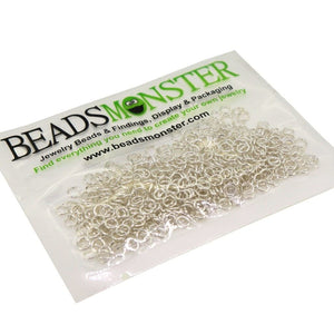 BeadsMonster Jewelry Findings Jump rings for Jewelry design and Making , Silver Color, 4mm, 20g